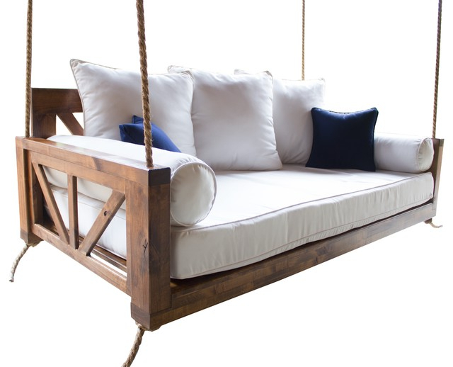 Trendy Avery Wood Porch Swing Bed, Charred Ember Finish, Crib Mattress Size With Porch Swings (View 8 of 20)