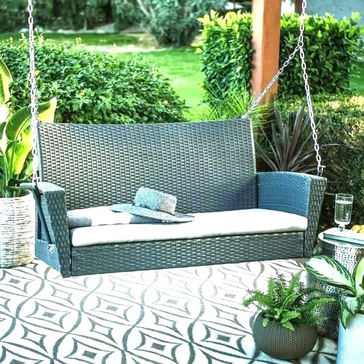 Trendy Black Wicker Porch Swing – Scotthouse (View 11 of 20)