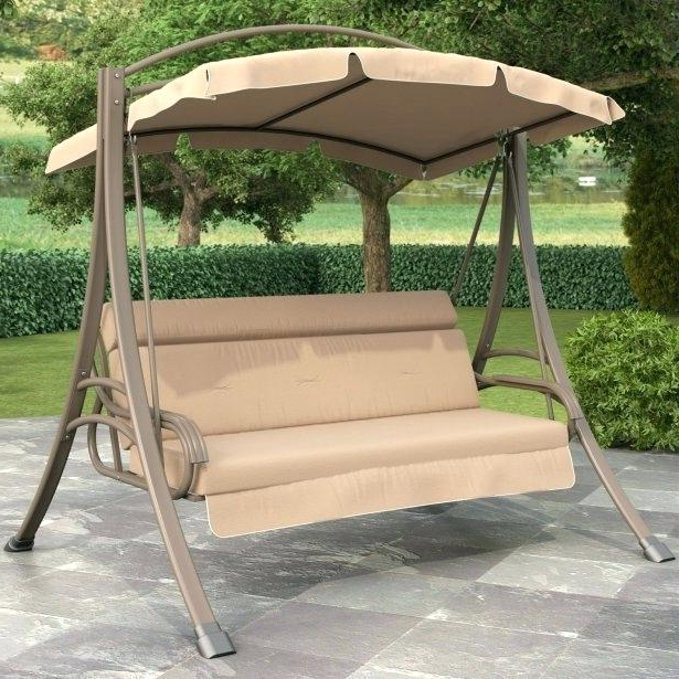 Trendy Canopy Porch Swings With 3 Person Porch Swing 3 Person Outdoor Porch Swing With (View 8 of 20)