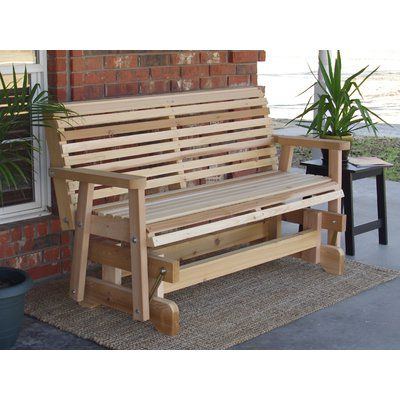 Trendy Cedar Colonial Style Glider Benches With Regard To Millwood Pines Jessica Cedar Glider Bench Finish: Natural (View 4 of 20)