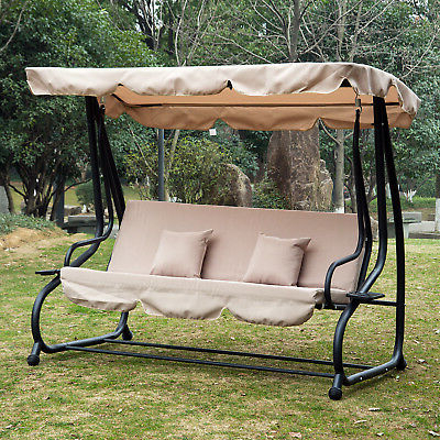 Trendy Outdoor Canopy Swing Patio Chair Lounge 3 Person Seat Throughout Patio Loveseat Canopy Hammock Porch Swings With Stand (View 7 of 20)
