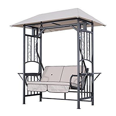 Trendy Outsunny Outdoor Garden 2 Seater Canopy Swing Chair Seat With 2 Person Antique Black Iron Outdoor Swings (View 17 of 20)