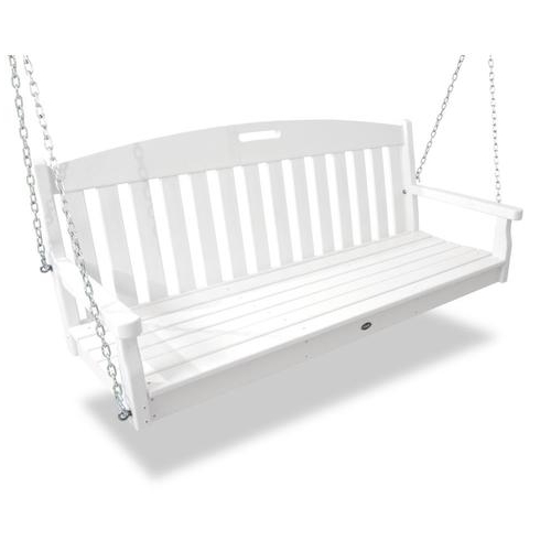 Trendy Yacht Club 2 Person Classic White Recycled Plastic Outdoor Swing With 2 Person White Wood Outdoor Swings (View 18 of 20)