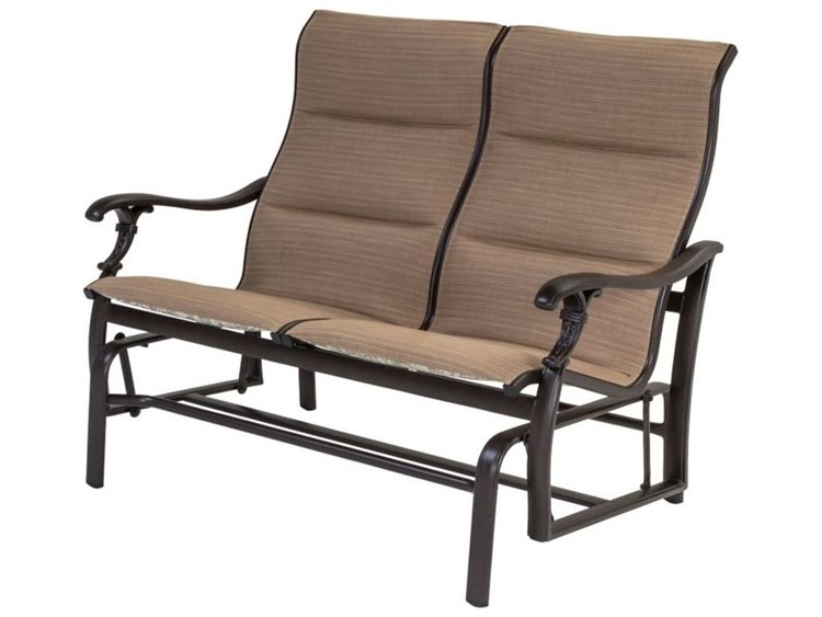 Tropitone Ravello Padded Sling Aluminum Double Glider Intended For Recent Padded Sling Double Gliders (View 9 of 20)