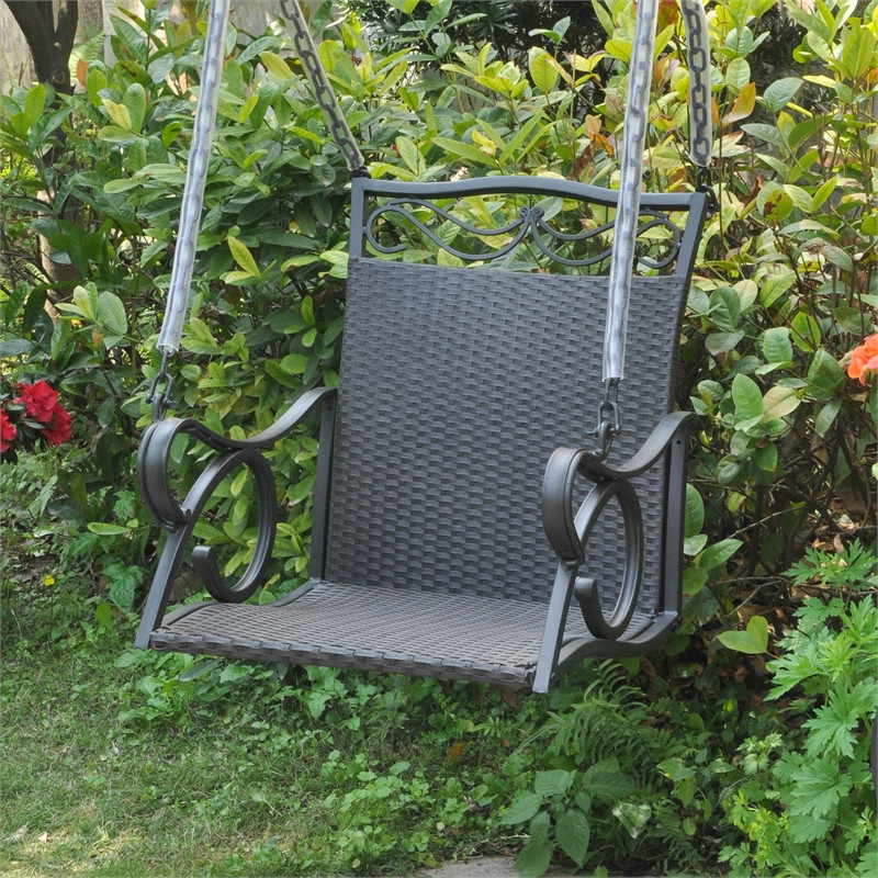 Valencia Resin Wicker Hanging Porch Swing In Fashionable 2 Person Hammered Bronze Iron Outdoor Swings (Gallery 5 of 21)