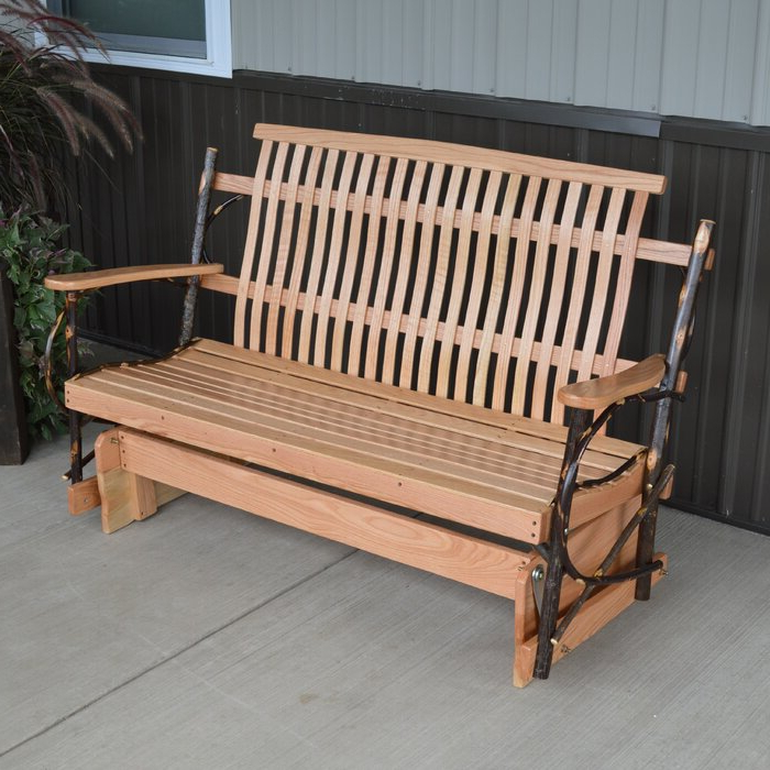 Valeria Hickory Porch Glider Bench Pertaining To Most Up To Date Iron Grove Slatted Glider Benches (View 9 of 20)