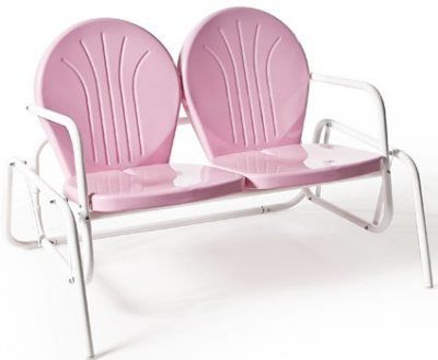 Vintage Pink Inside Outdoor Retro Metal Double Glider Benches (View 4 of 20)