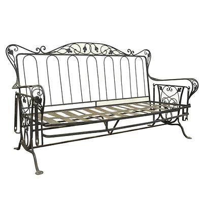 Vintage Wrought Iron Outdoor Patio Glider Swing Sofa For Fashionable 1 Person Antique Black Steel Outdoor Gliders (View 2 of 20)