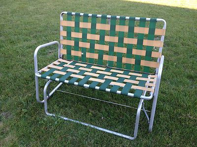 Vtg Aluminum Webbed Patio/lawn/porch Rocker/glider Double With Regard To Most Recently Released Aluminum Outdoor Double Glider Benches (View 13 of 20)