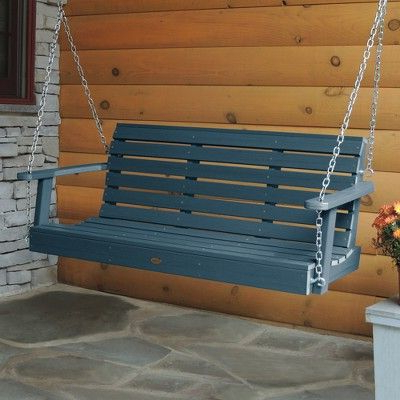 Weatherly Porch Swing 5ft Nantucket Blue – Highwood In 2019 Inside Newest Contoured Classic Porch Swings (View 10 of 20)