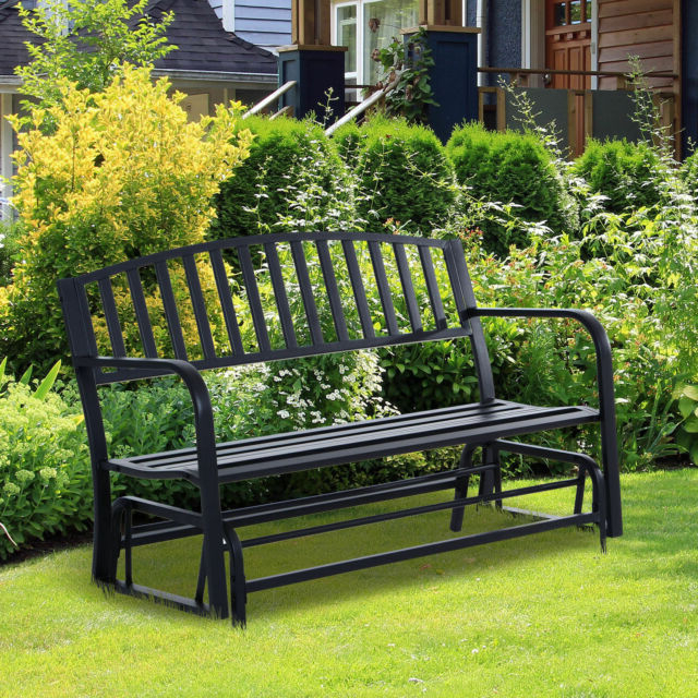 Well Known 2 Person Antique Black Iron Outdoor Gliders With Regard To Patio Garden Glider 2 Person Outdoor Porch Bench Rocking Chair Yard Furniture (View 7 of 20)