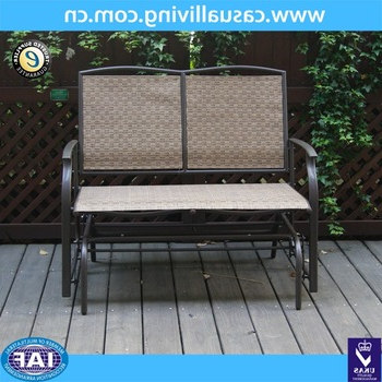 Well Known 2 Seater Cast Aluminum Rocking Chair Loveseat Glider Bench In Sling Fabric Seat& Back For Patio/outdoor Garden Bench – Buy Glider Bench,outdoor Garden Throughout Rocking Glider Benches (View 9 of 20)
