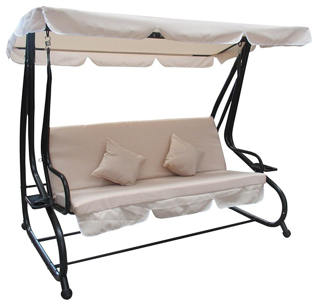 Well Known Canopy Patio Porch Swings With Pillows And Cup Holders Regarding Aleko Canopy Patio Swing Bench With Pillows And Cup Holders, Beige (View 2 of 20)