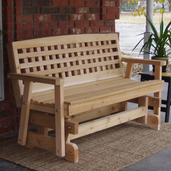 Well Known Cedar Colonial Style Glider Benches Throughout Brand New 7 Foot Cedar Wood Lattice Outdoor Glider – Free Shipping (View 9 of 20)
