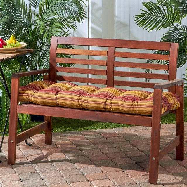 "Well Known Glider Benches With Cushions Intended For Porch Swing Cushion Glider Bench Seat 52"" Tufted Padded Patio Pillow Striped Red (View 9 of 20)"