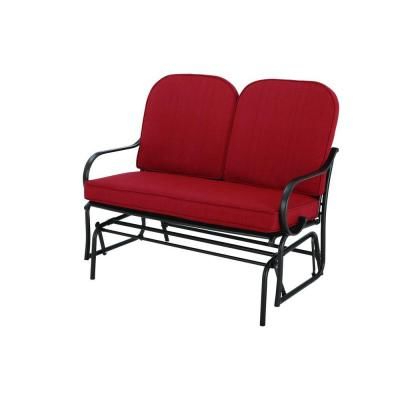 Well Known Hampton Bay Fall River Patio Double Glider With Dragon Fruit In Double Glider Benches With Cushion (View 9 of 20)