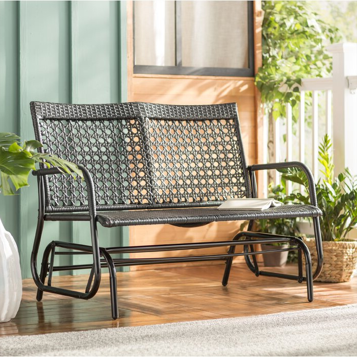 Well Known Indoor/outdoor Double Glider Benches Regarding Shupe Steel Rattan Outdoor Patio Double Glider Bench (View 14 of 20)