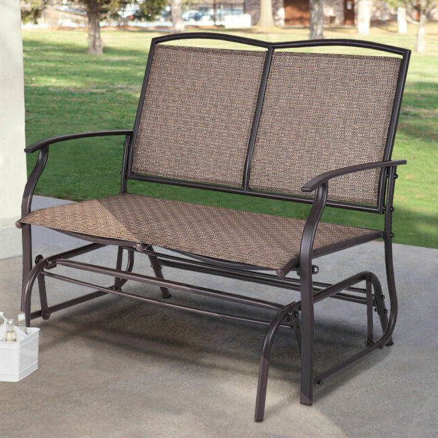 Well Known Loveseat Glider Benches Within Patio Glider Rocking Bench Double 2 Person Chair Loveseat Armchair Backyard New (View 4 of 20)