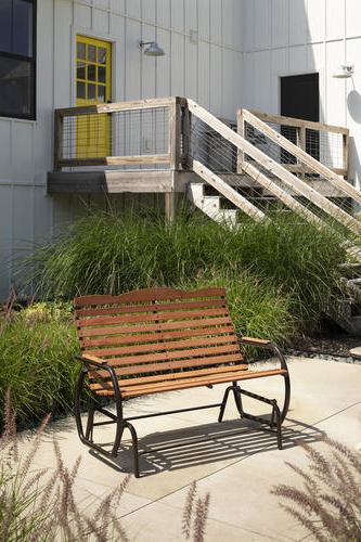 Well Known Low Back Glider Benches Inside Backyard Creations® Hardwood Patio Double Glider At Menards® (View 10 of 20)