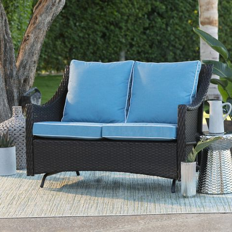 Well Known Outdoor Belham Living Lindau All Weather Wicker Loveseat Within Outdoor Loveseat Gliders With Cushion (View 4 of 20)