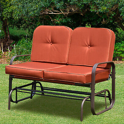 Well Known Outdoor Loveseat Gliders With Cushion With Patio Glider Bench Chair 2 Person Rocker Loveseat Outdoor (View 12 of 20)