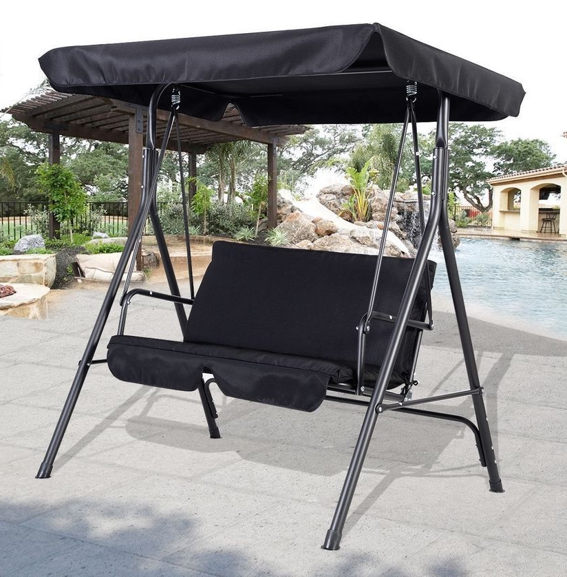 Well Known Patio Loveseat Canopy Hammock Porch Swings With Stand With Regard To 2 Seater Metal Swing Hammock Chair Bench Lounger Canopy (View 2 of 20)