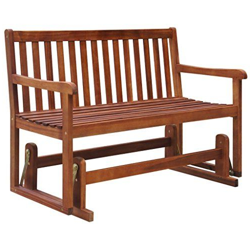 Well Known Traditional Glider Benches For Vidaxl Patio Acacia Wood Garden Glider Bench Porch Swing (View 11 of 20)
