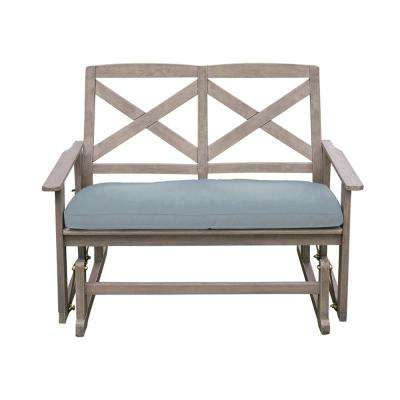 Well Known Tulle Wood Outdoor Glider Bench With Teal Cushion Pertaining To Glider Benches With Cushions (View 15 of 20)