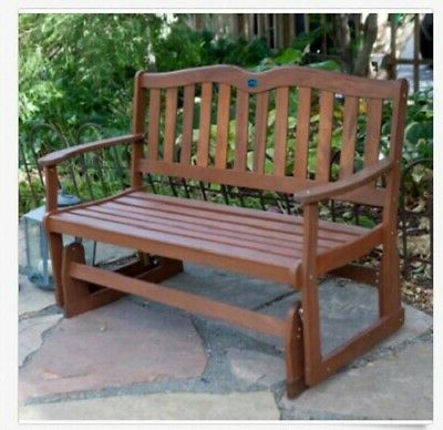 Well Known Wood Glider Bench 2 Person Outdoor Patio Country Garden Inside 2 Person Natural Cedar Wood Outdoor Gliders (View 19 of 20)
