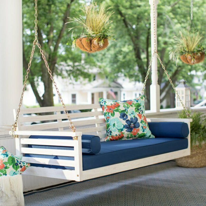 Well Known Wood Porch Swing, Patio Sofa Couch + Deck Bed + Seat Cushion Pad, Bolster Regarding Daybed Porch Swings With Stand (View 16 of 20)
