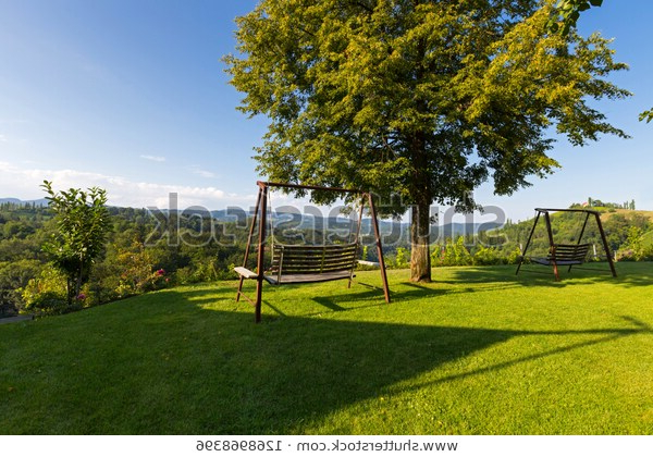 Well Known Wooden Porch Swing Garden View Vineyard Stock Photo (edit Inside Vineyard Porch Swings (View 11 of 20)