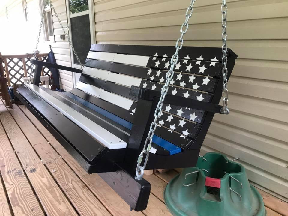 Well Liked American Flag Porch Swings Intended For Flag & Custom Swings – Davis Porch Swings (View 16 of 20)