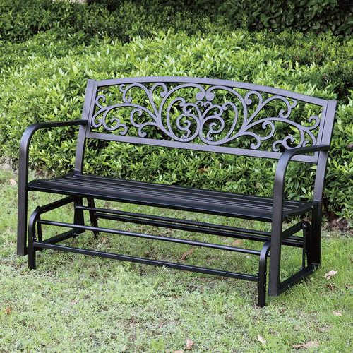 Well Liked Backyard Creations® Steel Scroll Glider Bench At Menards® With Low Back Glider Benches (View 6 of 20)
