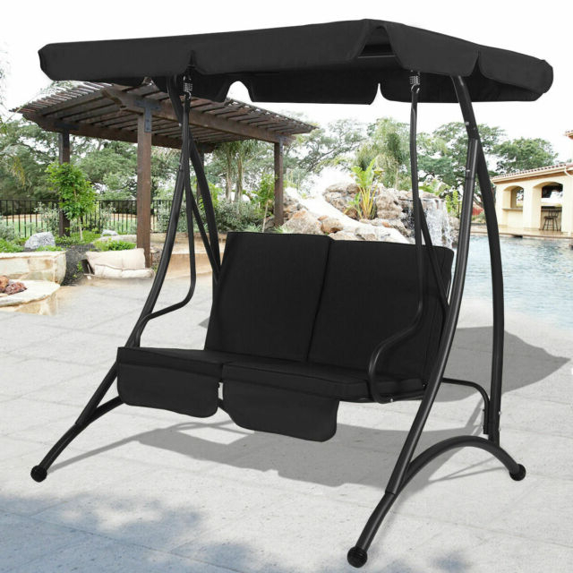 Well Liked Costway 2 Person Canopy Swing Chair – Black With 2 Person Black Steel Outdoor Swings (View 18 of 20)