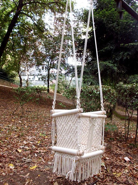 Well Liked Cotton Porch Swings Throughout Macrame Baby Swing – Hammock Swing Made From Cotton Rope (View 9 of 20)