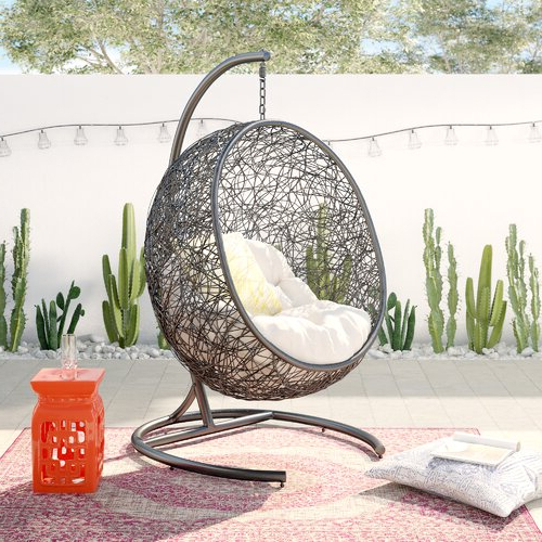 Well Liked Fairlight Outdoor Wicker Plastic Half Moon Leaf Shape Porch Swing Throughout Outdoor Wicker Plastic Half Moon Leaf Shape Porch Swings (View 3 of 20)
