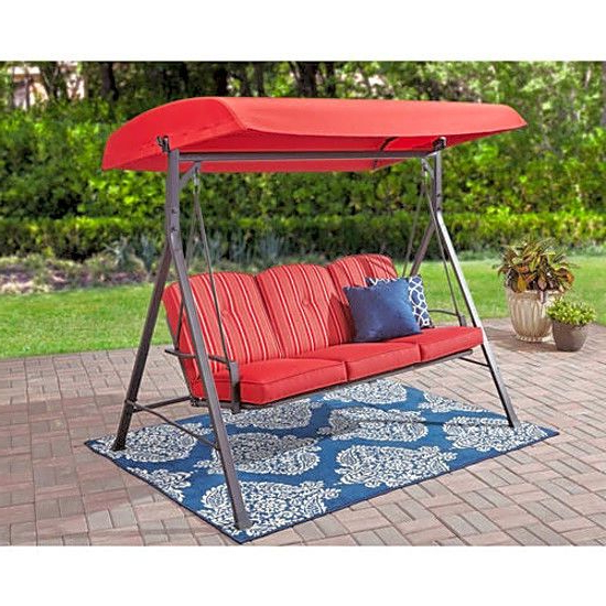 Well Liked Mainstays Forest Hills 3 Seat Cushion Swing Red Easy Within 3 Person Red With Brown Powder Coated Frame Steel Outdoor Swings (View 2 of 20)
