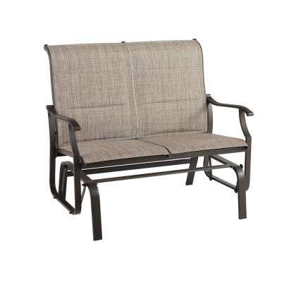 Well Liked Padded Sling Double Glider Benches With Regard To Riverbrook Espresso Brown 2 Person Steel Outdoor Patio Padded Sling Glider (View 17 of 20)
