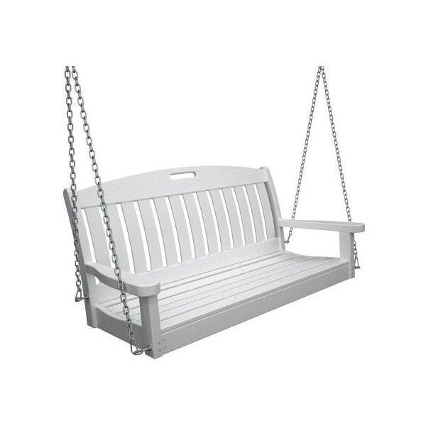 "Well Liked Polywood Outdoor Furniture Nautical 48 "" Swing, White Within Vineyard 2 Person Black Recycled Plastic Outdoor Swings (View 3 of 20)"