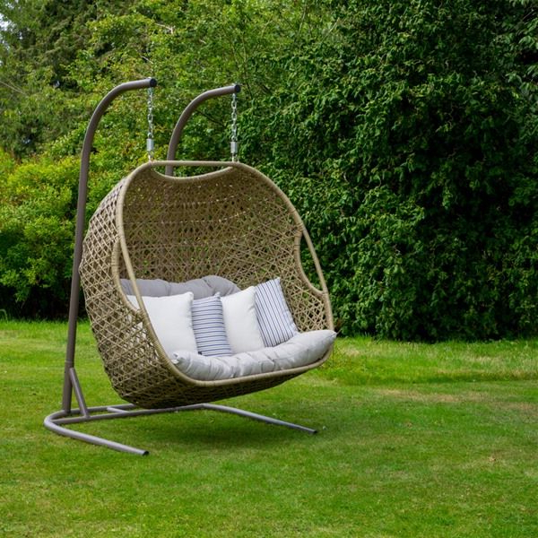 Well Liked Rattan Garden Swing Chairs With Bramblecrest Cotswold Double Cocoon Garden Swing Seat (View 3 of 20)