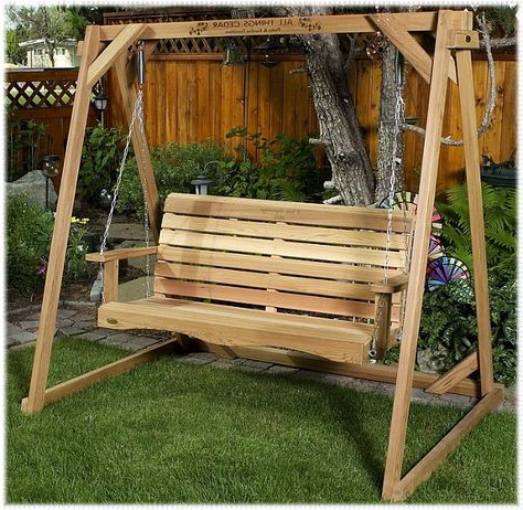 Well Liked This 4' Western Red Cedar Wooden Backyard Swing W/ Frame All Regarding Rosean Porch Swings (View 4 of 20)