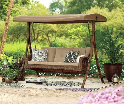 Well Liked Wilson & Fisher Palermo All Weather Wicker 3 Person Swing Throughout 3 Person Light Teak Oil Wood Outdoor Swings (View 20 of 20)
