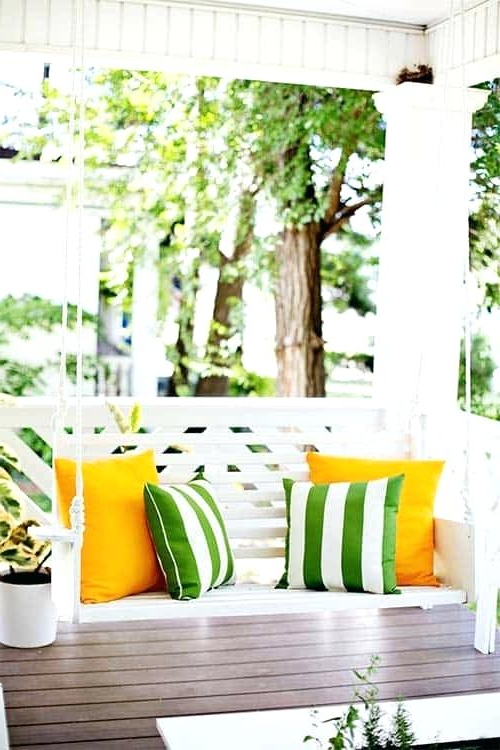 White Wooden Porch Swing Swings Compressed N Wood Classic With Well Known Casual thames Black Wood Porch Swings (View 17 of 20)