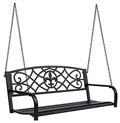 Widely Used 2 Person Black Steel Outdoor Swings For Outsunny 2 Person Outdoor Porch Swing Bench Home & Garden (View 19 of 20)