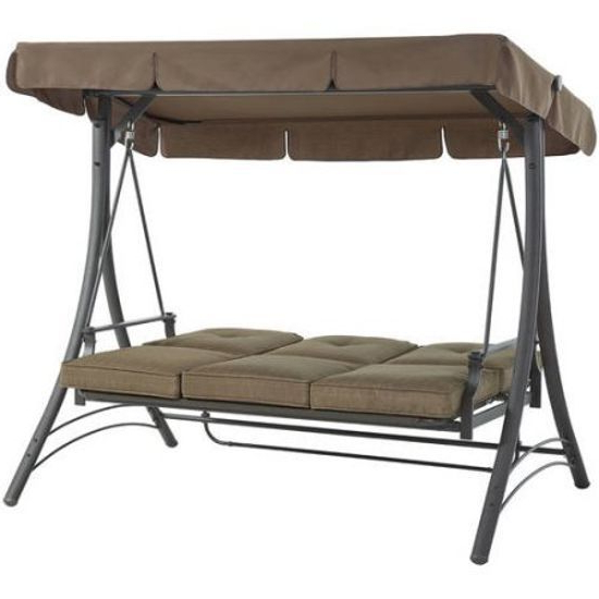 Widely Used 3 Person Brown Steel Outdoor Swings For Outdoor Porch Swing With Canopy Patio Steel Furniture (View 6 of 20)