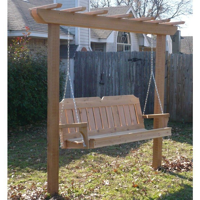Widely Used Porch Swings With Stand In Donath Cedar Arbor Porch Swing With Stand In (View 5 of 20)
