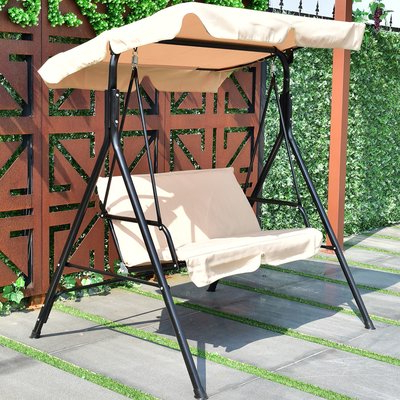 Winston Porter Priory Patio Loveseat Canopy Hammock Porch Intended For Widely Used Outdoor Canopy Hammock Porch Swings With Stand (View 3 of 20)