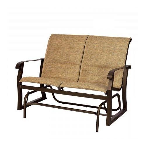 Woodard Cortland Padded Sling Gliding Loveseat In Popular Padded Sling Loveseats With Cushions (View 3 of 20)