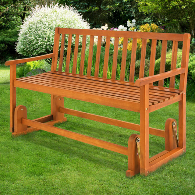 Wooden Swinging Seater Bench Garden Outdoor Rocking Glider Benches Made Of Pertaining To Best And Newest Rocking Glider Benches (View 5 of 20)