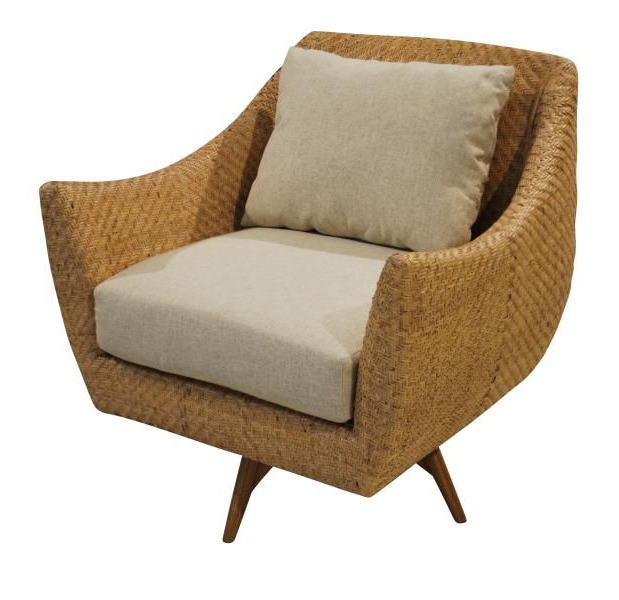 Woven High Back Swivel Chairs Pertaining To Famous Kenian // Grayson Swivel Chair // Woven Rattan Swivel Chair (View 15 of 20)